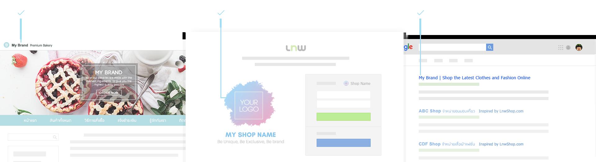 your logo & shop name on LnwBar เป็นตัวคุณได้มากกว่าที่เคย ไม่มีโลโก้ LnwShop อีกต่อไป, Your Logo & Shop name at Login Page ประตูสู่แบรนด์ เอกสิทธิ์เฉพาะคุณ มอบความรู้สึกเหมือนอยู่ที่ร้าน , No 'Inspired by LnwShop.com' in Title ดีใจจัง ค้นแบรนด์เจอเลย ให้ลูกค้าได้สัมผัสกับแรนด์ของคุณได้เต็มที่